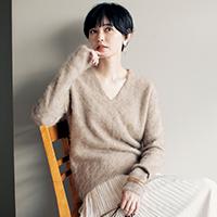 カシミヤシャギーVネックニット/enrica