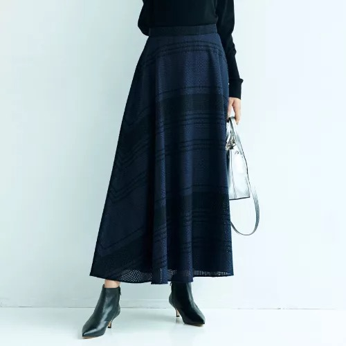 M7days /【編集部と考えました!】チェック織柄フレアスカート/ ¥18,000+税