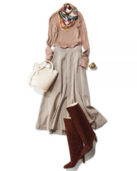 Ⓒ 艶スカート OTHER COORDINATE/カラバリはフェミニンで優しい印象のグレージュ