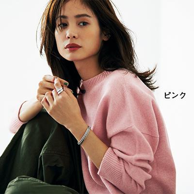 【福田麻琴さんコラボ】ホールガーメントクルーネックニット(ピンク)/12closet