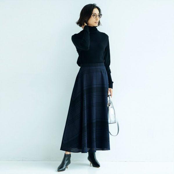 M7days  【編集部と考えました!】チェック織柄フレアスカート   ¥18,000+税