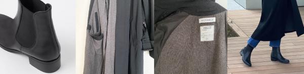 FABIO RUSCONIサイドゴアブーツ ヒール3.5cm MADISONBLUESOUTAIN COLLAR OVER CT W/GABARDINE スロテッドポケット 内側ウールカシミアライナー 内側袖裏シルク