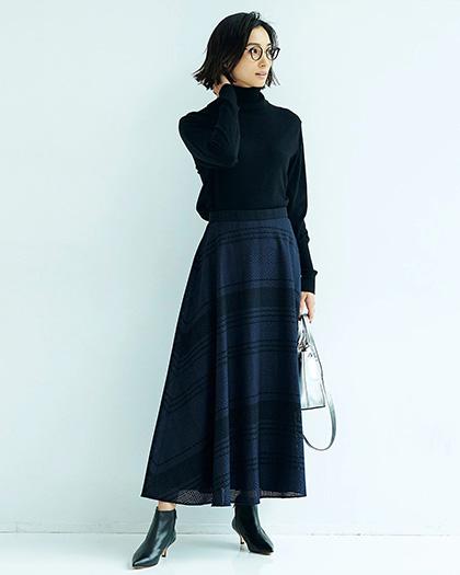M7days(エムセブンデイズ)/【編集部と考えました!】チェック織柄フレアスカート/¥18,000+税
