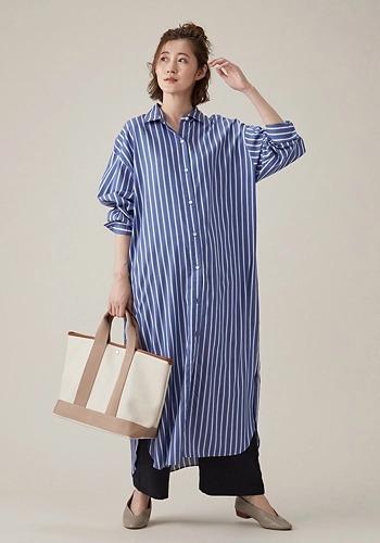 【ストライプロングシャツワンピコーデ】Water Lilly/【Water Lilly】ロングシャツ ワンピース ストライプ/¥21,000+税