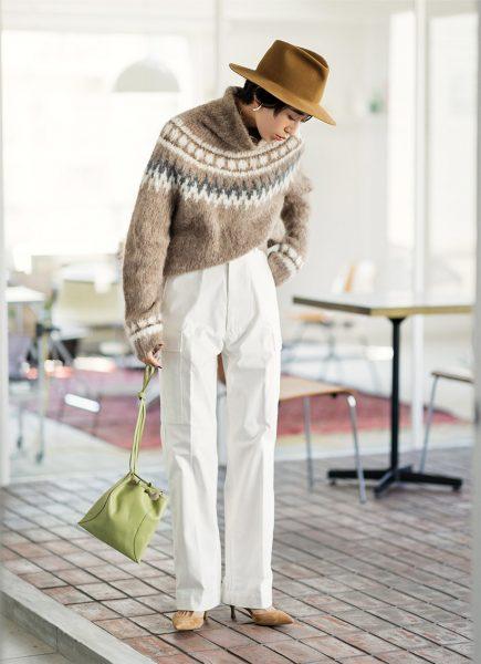 Day12:ブラウンのノルディックセーターで、トレンド配色を楽しむ