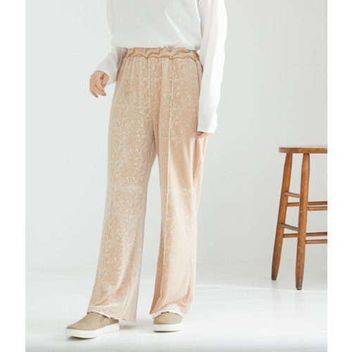 ViS/【WEB限定】裾メロー柄入りベロアリブパンツ/¥2,300+税