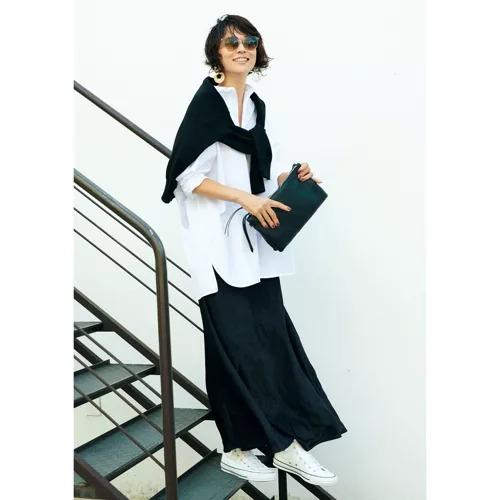 M7days 【徳原文子さんコラボ】サテン裾フレアスカート ¥15,000+税