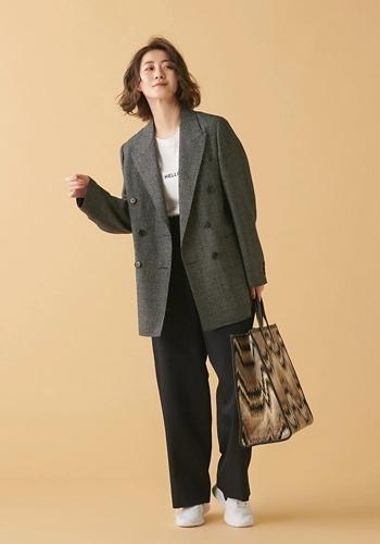 【ノスタルジックなジャケットコーデ】COUTURE D'ADAM/グレンチェックオーバーサイズダブルジャケット/¥64,000→¥51,200+税(20%OFF)