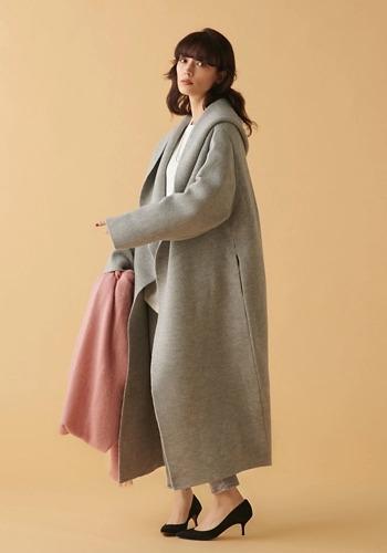 【薄軽羽織りコーデ】ADAWAS/エアリーフーデットコーディガン/¥38,000+税