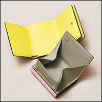 三つ折りミニウォレット ピンク×グレージュ、グレージュ×イエロー/L'arcobaleno×éclat