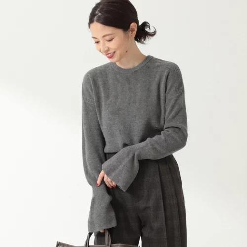 Demi-Luxe BEAMS / あぜ編み フレアスリーブ ニット/¥18,000+税