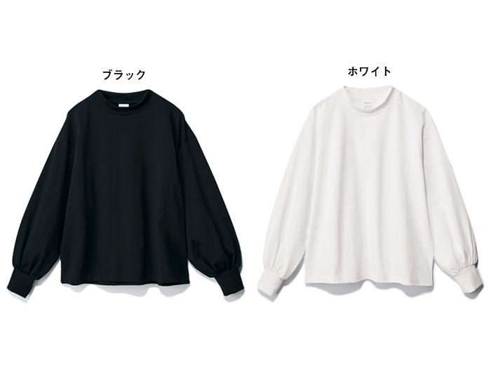 [石上美津江さんコラボ]ギャザースリーブTシャツ ホワイト ブラック/12closet