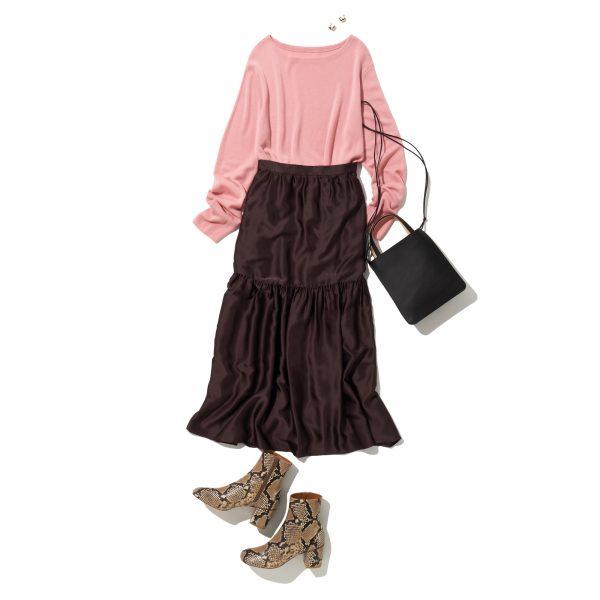 \今日のコーデ/鮮度満点の艶ティアードスカートなら上品さもついてくる【2021/2/5】