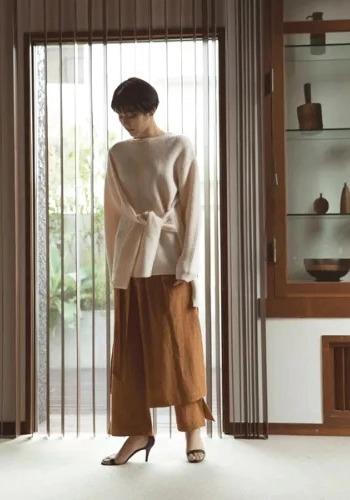 【デザインニットで脱・無難コーデ】marjour/FRONT RIBON KNIT PULLOVER/¥6,800+税