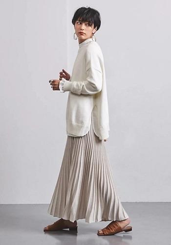 【ラメスカートで春先取りコーデ】UNITED ARROWS/UWCC ラメ ニットプリーツ スカート†/¥21,000+税