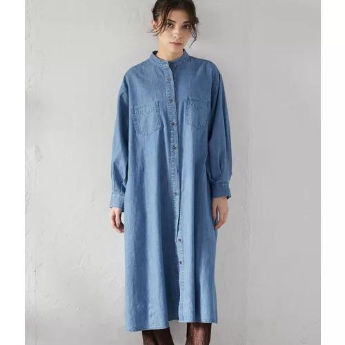 ViS/【Daily use】デニムバンドカラーシャツワンピース<WEB限定>/¥4,500+税