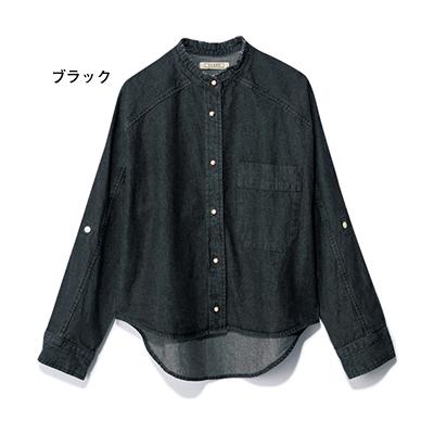 パールボタン デニムシャツ ブラック/BLANC basque