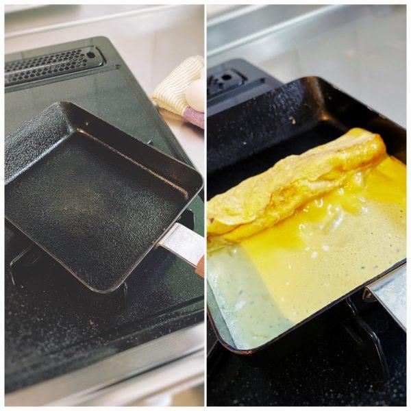 ambai(アンバイ)/卵焼き 角/¥5,500+税/自宅キッチンで卵焼きを焼いてる様子