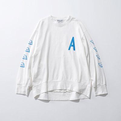 AMERICANA ロゴ入りコットン天竺ロングTシャツ¥13,200+税