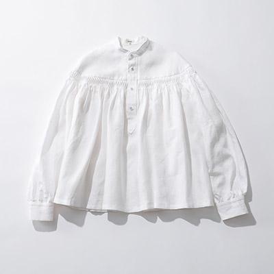 Scye Linen Pintucked Pullover Blouse