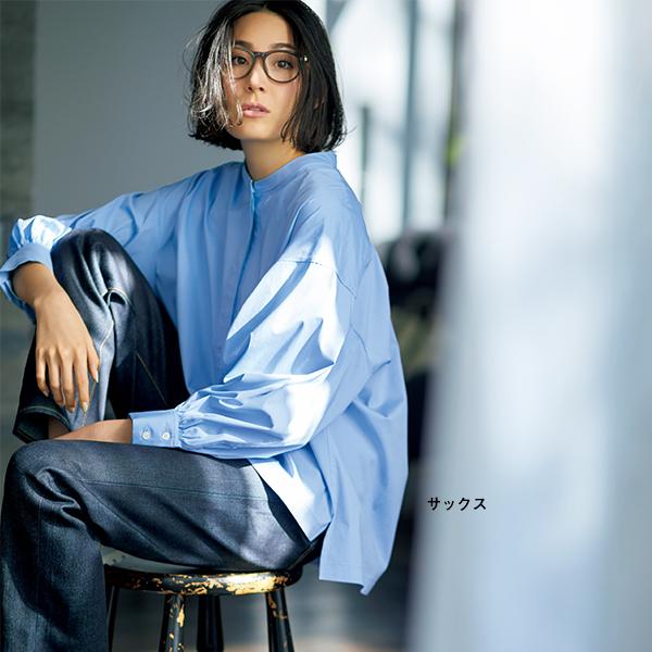 袖ボリュームシャツ サックス/SINME×éclat