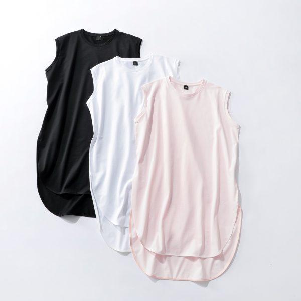 ATON【別注】エコBAG付ラウンドヘムノースリーブTホワイト、ピンク、ブラック¥14,300(税込み)Tシャツ