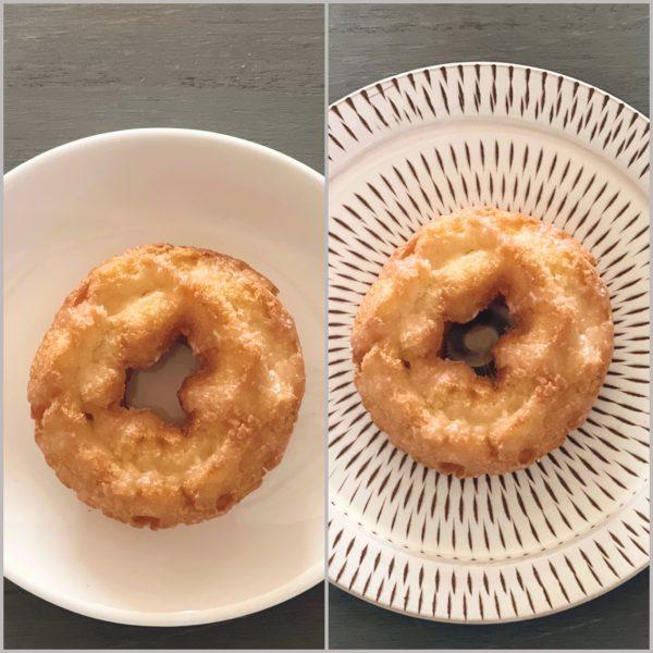 白いお皿と小石原ポタリーのパン皿Sとの比較写真
