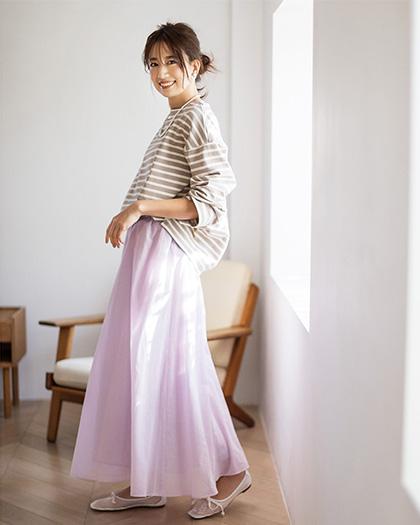suadeo/【洗える】シフォンフレアギャザーマキシスカート/¥16,500