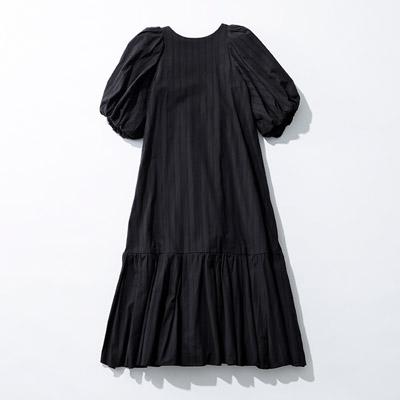 Uhr Puff Sleeve Back Open Dress