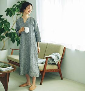 【福田麻琴さんコラボ】七分袖ナイトシャツ/fog