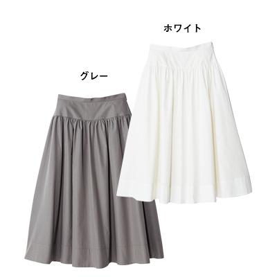 切り替えコットンギャザースカート ホワイト、グレー/12closet