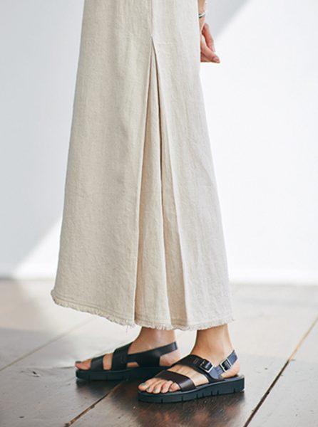 裾フリンジリネンロングスカート/MICA & DEAL