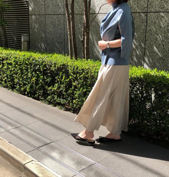 E by éclat「リネンマキシスカート」を150㎝台小柄バイヤーが着比べました エクラ2021年特集