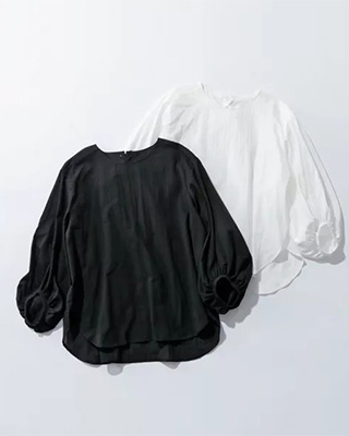 suadeo/【洗える】バックレースアップボリューム袖ブラウス/¥16,500