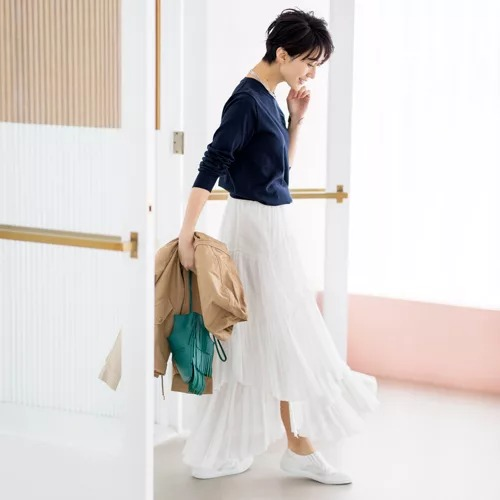 CASA FLINE コットンティアードスカート ¥36,300