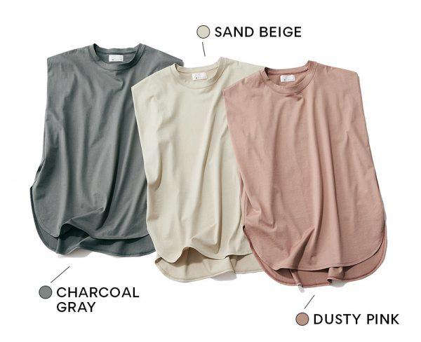 M7days 【松村純子さんコラボ】ノースリーブTシャツ CHARCOAL GRAY / SAND BEIGE / DUSTY PINK
