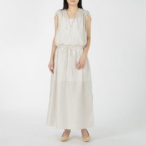 enrica コットンサテンショルダーギャザーノースリーブドレス ¥28,600