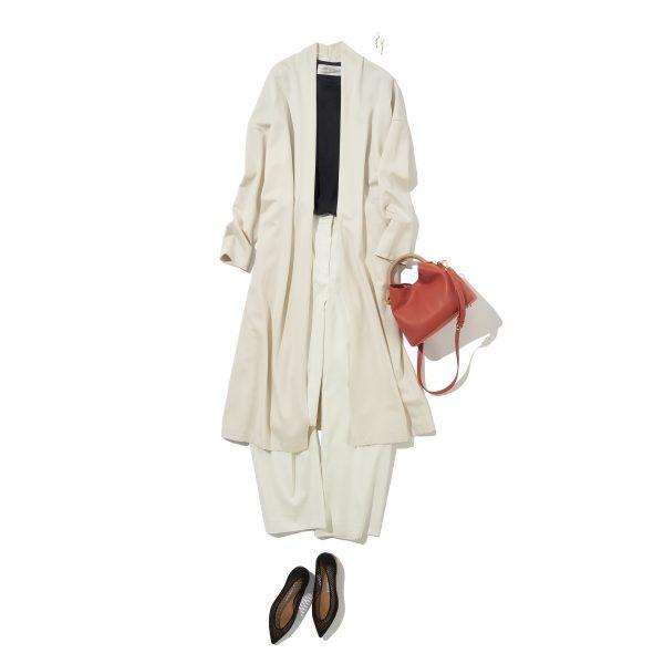 \今日のコーデ/夏のモノトーンには軽やかな羽織りで大人の華やぎも添えて【2021/6/11】