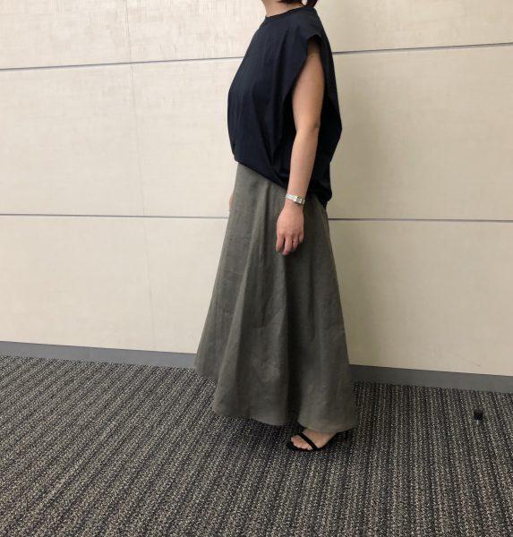 E by eclatリネンマキシスカート/カーキグレー/36サイズ/¥18,700