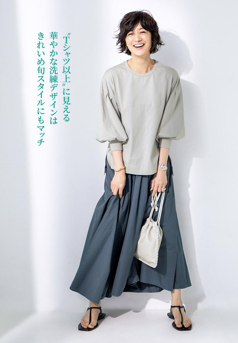 """""""Tシャツ以上""""に見える華やかな洗練デザインはきれいめ旬スタイルにもマッチ"""