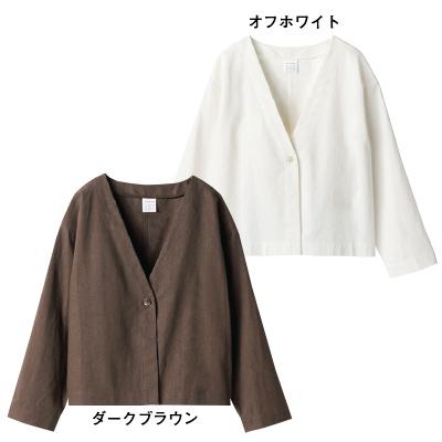 リネンコンパクトジャケット ダークブラウン・オフホワイト/12closet