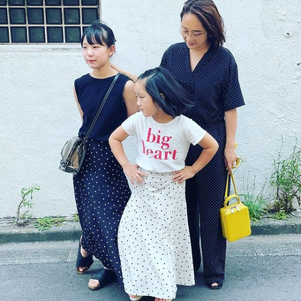 12closet【洗える】ドット柄オールインワン¥19,800徳永さん着用ご家族