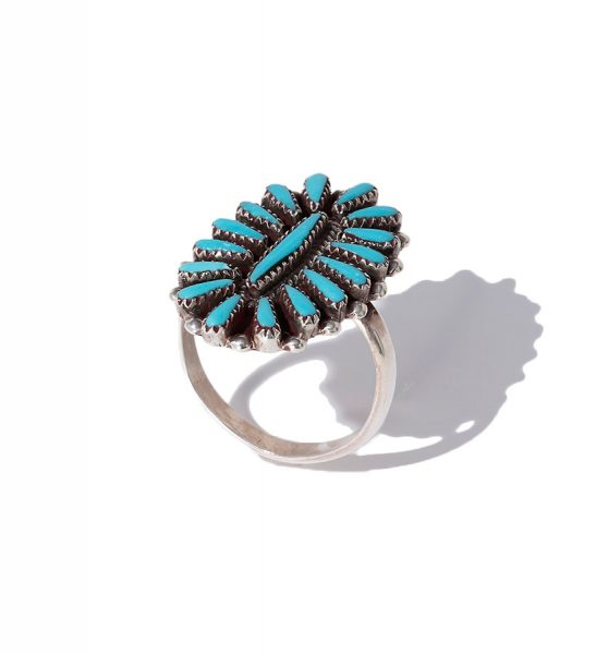 HARPO Sterling silver ring with turquoise cactus flower