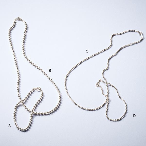 A SV925 3mm玉ブレスレット(17.5cm)、B SV925 3mm玉ネックレス(42cm)、C SV925 2mm玉ネックレス(42cm)、D SV925 2mm玉ブレスレット(17.5cm)