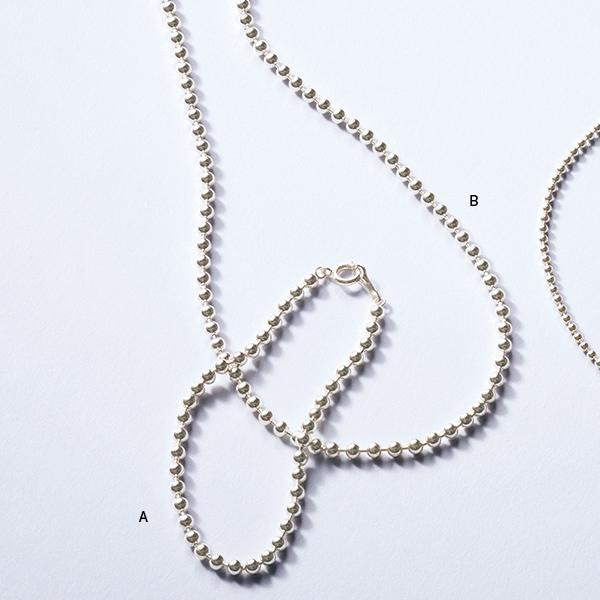 A SV925 3mm玉ブレスレット(17.5cm)、B SV925 3mm玉ネックレス(42cm)/12closet