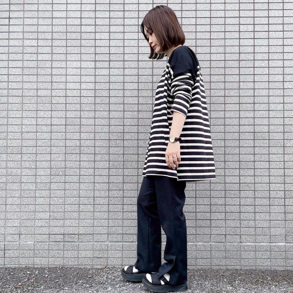 【福田麻琴さんコラボ】【洗える】切替えボーダーチュニック 12closet ¥11550 ボブッコサイドカット