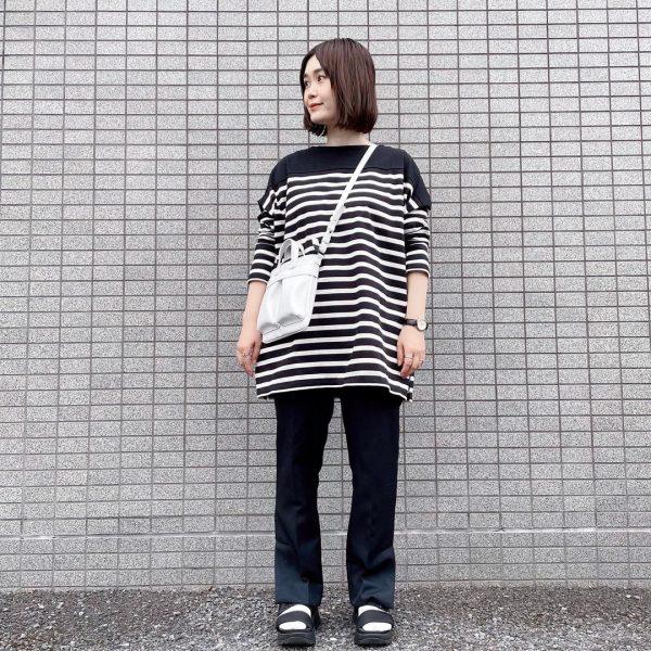 【福田麻琴さんコラボ】【洗える】切替えボーダーチュニック 12closet ¥11550 ボブッコ正面