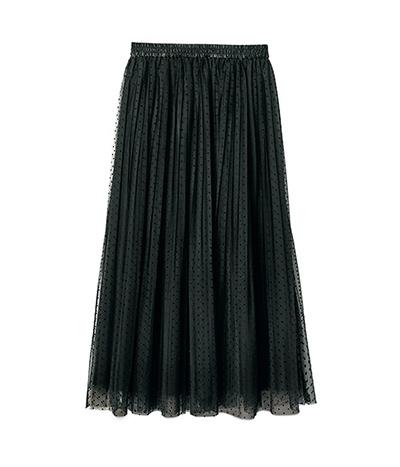 秋冬コーデに軽さと華やぎをくれるチュールスカート ドットチュールプリーツスカート